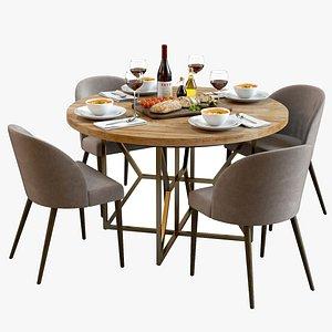 3D Table Set with Food 02  CrateBarrel Furniture  Bread Board  Tomato Soup  Tableware model