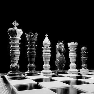 3D chess set marble model