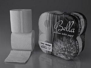 paper 4 rolls 3D model