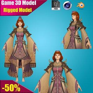 3D model girl fantasy warrior