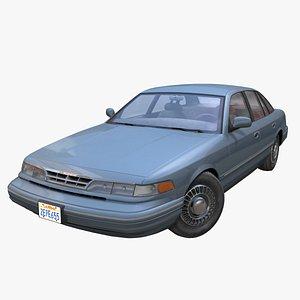 American 90s generic sedan PBR 3D