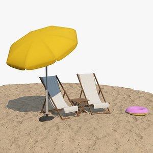 3D realistic 3D Deckchair Table Parasol Set PBR