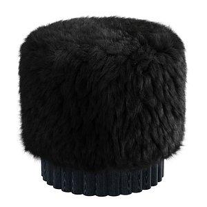LOTO Pouf in Sheepswool Long Hair Fabric by Peca 3D model