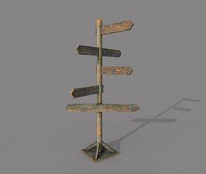 Wooden PBR Old Signpost 3D model
