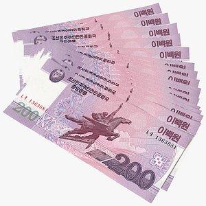 Fan Shaped North Korea 200 Won Banknotes 3D model
