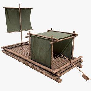 Wooden Raft v2 With Pbr 4K 8K 3D model