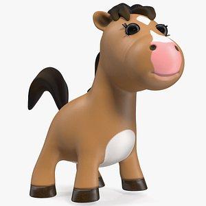 Brown Cartoon Horse Rigged for Maya model