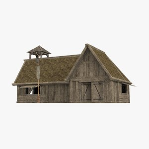 3D Ancient building log cabin shop model