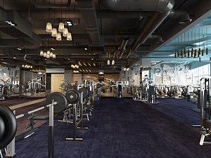 Gym exercise body exercise fitness equipment MeiTie equipment area treadmill 3D model