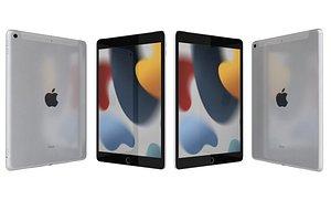 3D Apple iPad 10 2 2021 9th Gen Silver model