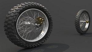 Motorbike Front Back Tire Wheel 3D