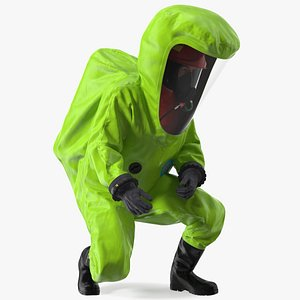 Heavy Duty Chemical Protective Suit Squat Pose Green 3D