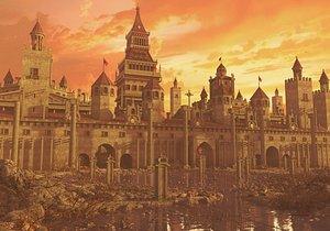 Fantasy Wall Castle Landscape. 3D