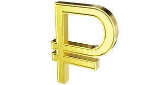 3D Ruble currency sign model