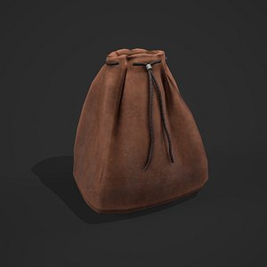 3D Medieval Drawstring Bag model