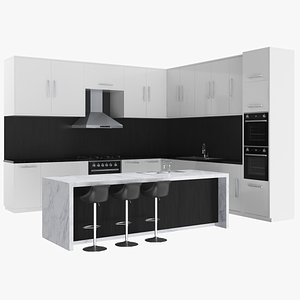 3D kitchen island unit model