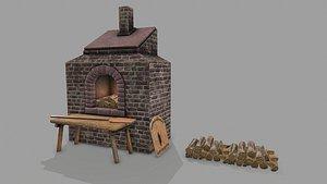 Medieval PBR Stone Oven Baker 3D model