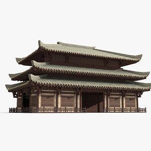 ancient three-story palace model