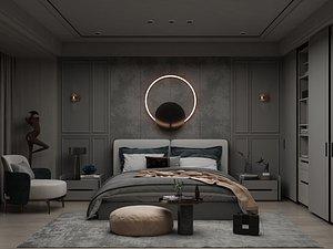 3D Modern Style Bedroom - 518 model