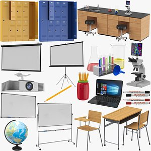 3D School Items Collection model