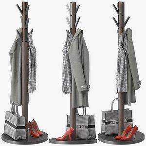 Solid Wood Freestanding Coat Stand 3D model