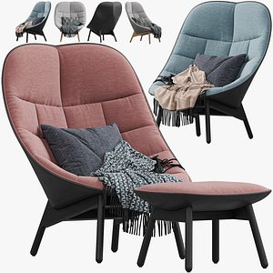 3D HAY Uchiwa Lounge Quilted armchair model