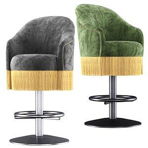 3D model Amanda velour bar stool