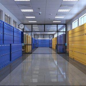 3D School Hallway Interior Scene