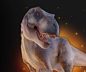 3D Jurassic Park Tyrannosaurus Rex Blender Low-poly model