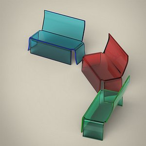 3D Glass Bench model