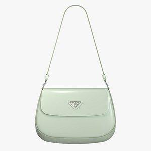Prada Cleo brushed leather shoulder bag with flap Aqua 3D