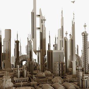 Futuristic Sci-Fi Buildings Pack 3D model