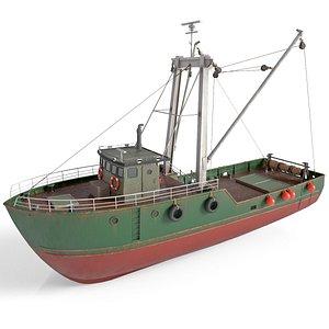 old boat fishing 3D model