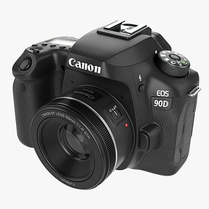 3D Canon EOS 90D DSLR camera 50mm f1.8 STM Lens 01