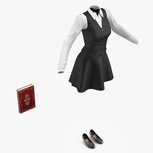 3D Teenage Girl School Uniform Set model