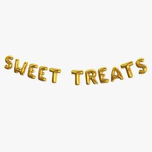 3D Foil Baloon Words Sweet treats Gold