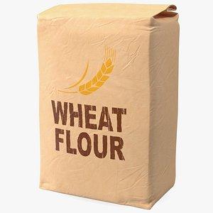 Wheat Flour Brown Paper Bag 5lb 3D