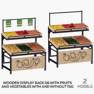 Wooden Display Rack 06 With Fruits and Vegetables with and Without Tag - 2 models 3D model