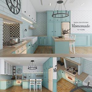 3D Vintage American Kitchen Interior