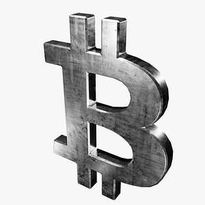 3D model symbol silver bitcoin
