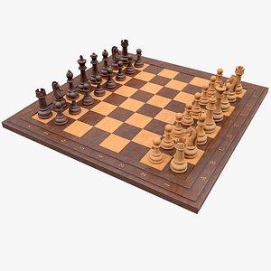 3D Chess Set  1 With PBR 4K 8K model