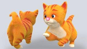 cute hair fur cat 3D model