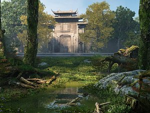 City gate city wall abandoned city natural scenery moss 3D