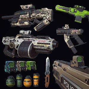 PBR SciFi Weapons v2 3D model