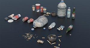3D model trash set pbr ready