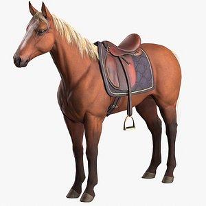 Saddled horse 3D model