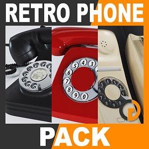 retro style telephones pack 3d dxf