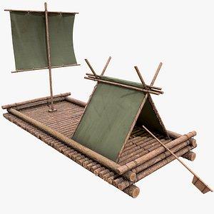Wooden Raft v1 with PBR 4K 8K 3D model