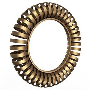 3D Wire Wheel Wall Mirror