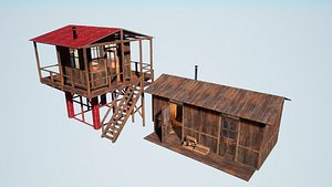 Modular Watchtower and house 3D model